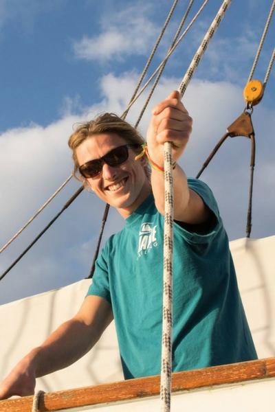 Seb sailing on tall ship blue clipper